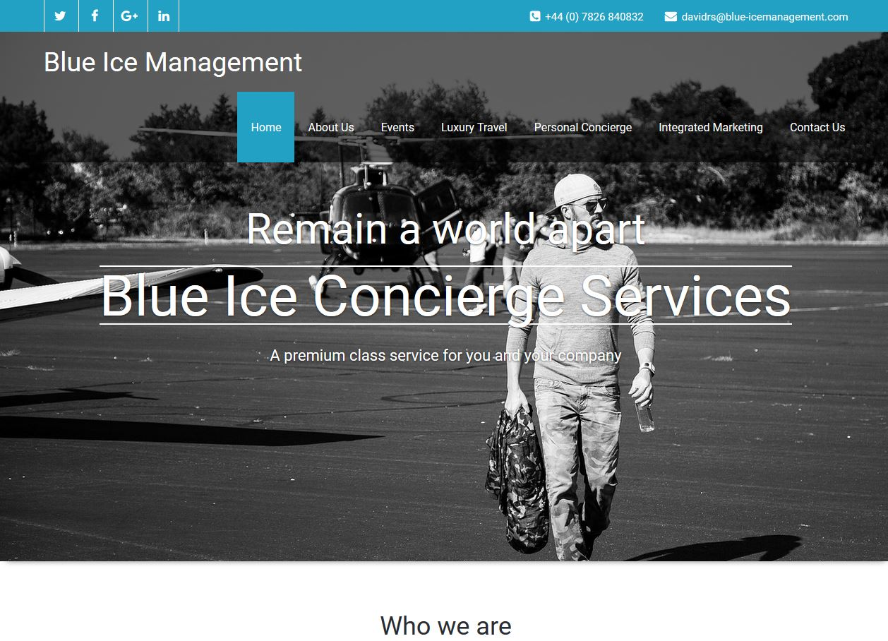 Website, Concierge Services Travel
